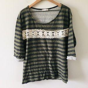 Altar'd State Crochet Stripe Lightweight Sweater